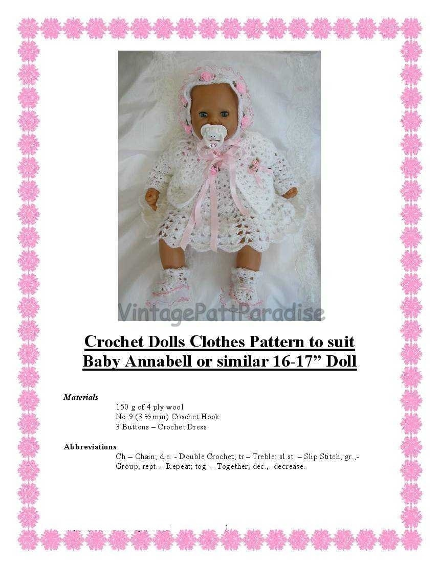 Crochet Pattern Baby Annabell 16 to 17 inch baby doll of