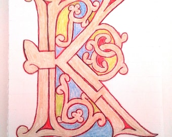 Fancy Illuminated Letter - Ottonian K - colored pencil drawing