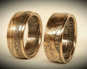 British Large 1 Cent Copper Coin Ring