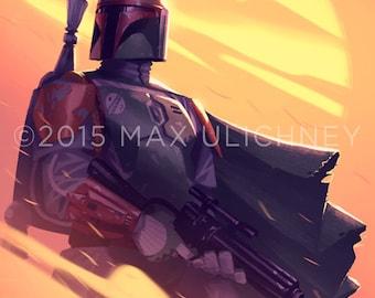 Star Wars Painting Boba Fett Giclee Art Print