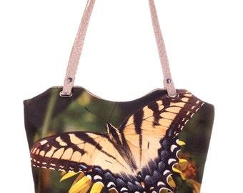 Butterfly Print Bag Textile Tote Bag Green Shopper Bag Tote Bag Everyday Bag Floral Tote Zipped Bag, Art Tote Bag Everyday Carry Large Tote
