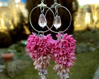 Pink earrings, Dangle earrings, flower earrings, crystal earrings, romantic earrings, gift for her, floral earrings, jewelrylimanska