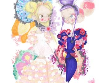 "fashion illustration ""Chanel: flowers' fairies"" art print"