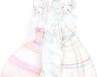 "fashion illustration ""Dior's fallen angels"" art print"
