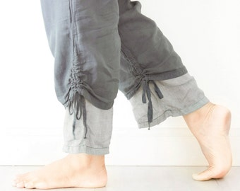Comfy Cotton Pants with Drawstring in Gray