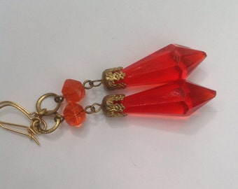 Vintage Art Deco Bohemian, Czech crystal drop earrings with solid gold ear wires. Orange-red crystal glass.