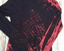 Stunning Nine West mock turtleneck black with shibori bleach treatment