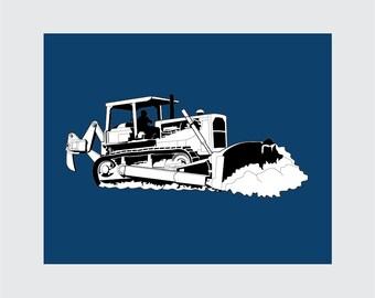 Large Bulldozer Art Print, 8x10 PRINTABLE, Tractor, Instant Download, Digital
