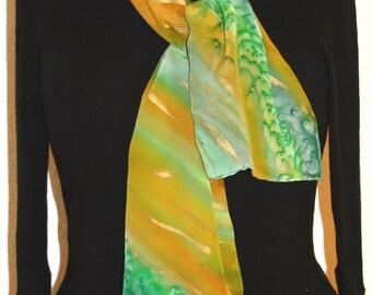 Silk Scarf Hand Painted. Green, Terracotta Hand Painted Shawl. Handmade Silk Wrap BRONZE RAIN. Size 11x60. Birthday Gift Mother's Day.