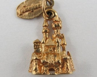 Disneyland Sleeping Beauty's Castle 14K Gold Vintage Charm For Bracelet