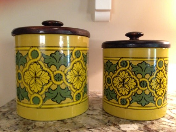 vintage kitchen canister set tin canisters lidded 1970 s retro kitchen ransburg lidded 22585