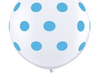 "36"" White with ROBIN'S EGG BLUE Polka Dots Large Balloon"