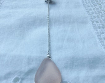Peach Seaglass Lariat Pendant and Locket Necklace