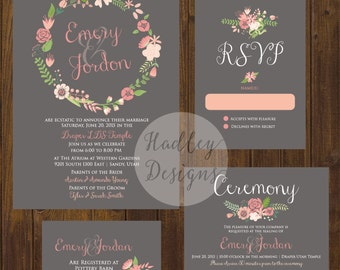 wedding invitation floral, wedding invitations floral, wedding invitation rustic, country rustic wedding invitations, wedding invites rustic