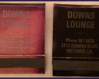 Lot of 2 Vintage Front Strike Matchbooks Downs Lounge Metairie Louisiana 1970's Unstuck  Complete with Matches
