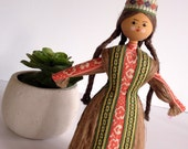 Vintage Russian Folk Art Doll Hand Made Wheat Straw Peasant Girl Collectible Doll Kitsch Decor Boho Girl's Decor Room Boho Baby Girl