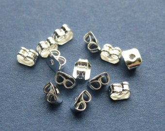 100 (50 pairs) Butterfly Earring Back- Silver Plated - 5mm x 4mm -- (V4-10870)