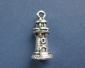 10 Lighthouse Charms - Lighthouse Pendants - Antique Silver - 20.5mm x 9mm --(No.84-10646)