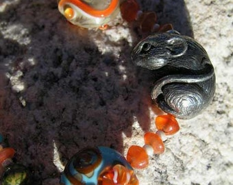 Turquoise and Orange Lampwork Bead Necklace with Cute Pewter Mouse