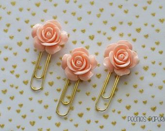 Beautiful Apricot Rose Resin on Gold Planner Paper Clip for Your Erin Condren Filofax Kikki K Planner Accessories