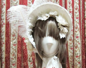 SurfaceSpell Half Bonnet, Cotton Matelasse, White. Classic Lolita Bonnet.