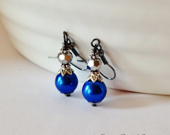 Capri Blue Pearl Earrings Bridesmaid Earrings Jewelry Set Wedding Jewelry Beaded Jewelry Blue Earrings Vintage Style Bridal Jewelry