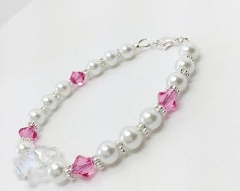 Bridesmaid Bracelet Pink Crystal Bracelet Wedding Jewelry Mother of the Bride Gift Crystal Bracelet Flower Bracelet Swarovski Crystal