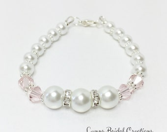 Bridesmaid Bracelet Pink and White Wedding Bracelet Pink Crystal Jewelry White Pearl Bracelet Jewelry Set Mother of the Bride Wedding Gift