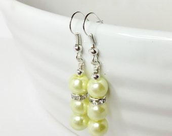 Lemon Drop Earrings Pearl Bridesmaid Earrings Lemon Pearl Earrings Wedding Jewelry Mother of the Bride Bridesmaid Gift Yellow Earrings