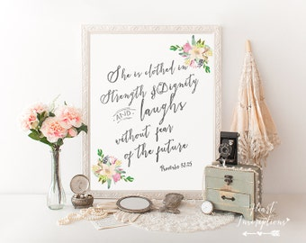 Bible verse Printable, Watercolor Christian Wall Art, Proverbs 31, Digital Printable, Instant download, Christian printable