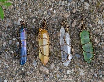 Bronze Wire-Wrapped Quartz Crystal Necklace