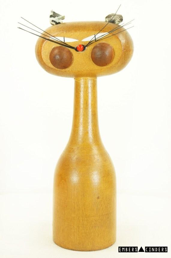 vintage mcm cat pencil holder