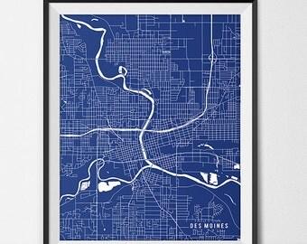 Des Moines Map Art Print, Iowa State Map, University of Des Moines Art Graduation Gift, Dorm Decor,  Des Moines Iowa Gift