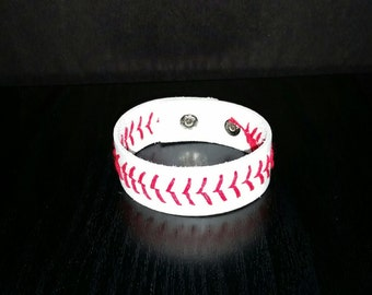 Leather Stitch Baseball Bracelet