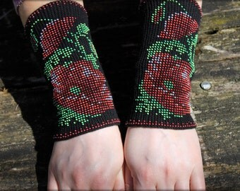 Arm Wrist Warmers Beaded Red Poppies - Unique Handmade Long Beaded Black Wrist Warmers Fingerless Gloves Cuff- Cashmere Wool, Christmas gift