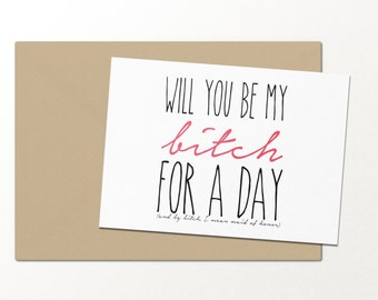 Will You Be My Bridesmaid Funny Greeting Card For