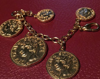 Gold tone coin bracelet Roman Greek