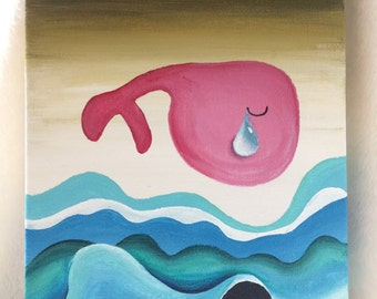 "Acrylic painting on canvas (6.2x8.9""): The Weeping Whale"