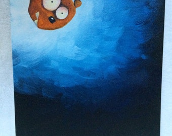 "Acrylic painting on canvas (8x10""): Silly Monster Playing Peekaboo"