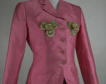 1980s-90s BILL BLASS pink silk triple pocket zip detail jacket 38/30/-