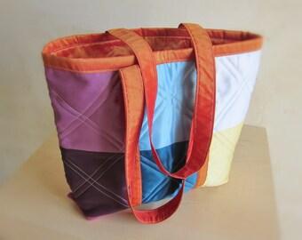 Sac cabas à bandoulières multicolore Sac à couches Sac tissu recyclé patchwork Sac à main épaule Sac pour femme Cadeau pour nouvelle maman