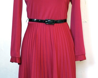 Maroon/ burgundy A-line secretary dress S/M
