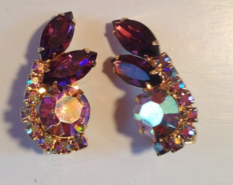 Juliana D&E Purple and AB Lavender Rhinestone Earrings