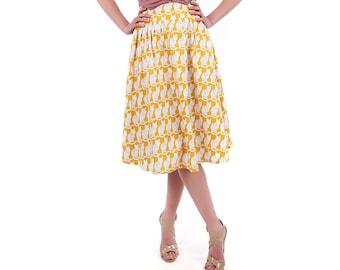 50s Style Summer Skirt: Cat Print