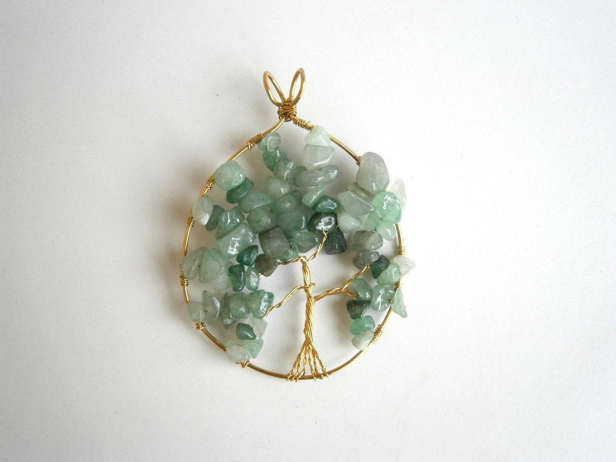 aventurine tree of pendant wire wrapped handmade