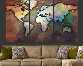 World Map Canvas, Antique Map, Large Wall Art Up to 6 ft. Wide, Large Map, Custom Wall Decor, Canvas Art, Canvas Map, Push Pin Map, quotes