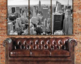 New York Skyline in B&W Canvas Art, Empire State, New York Art, New York City, New York Canvas, New York Poster, New York Photo