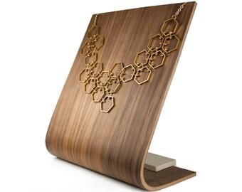 Geometric Hexagon Bib Necklace, Gold Tone