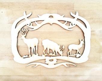 Wildlife laser wood cut out  Deer Moose Elk  Laser cut Hunting scene