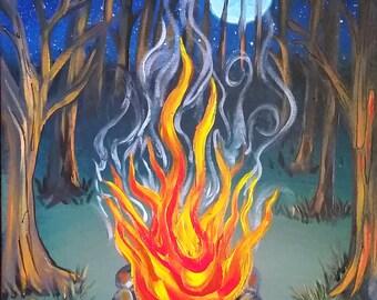 Moonlight Campfire Original Acrylic Painting on 18x24 Canvas